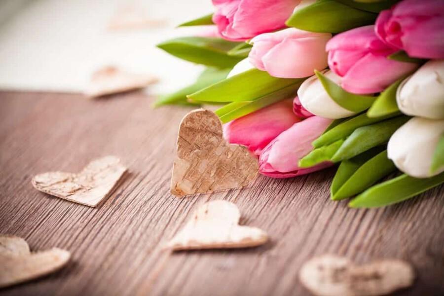 Wooden Heart Flowers