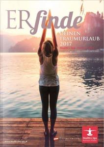 Health and Spa Katalog mit einer Frau bei der Meditation
