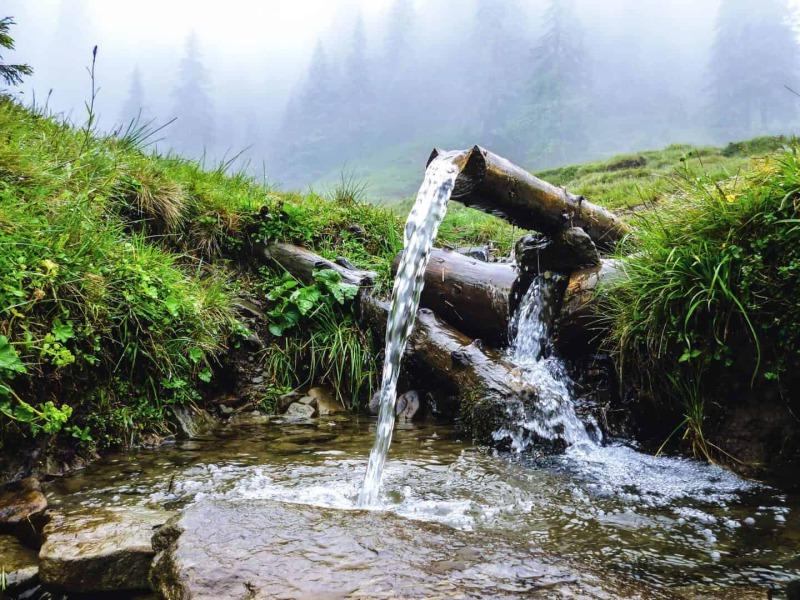 Bach fließend durch ein grünes Feld